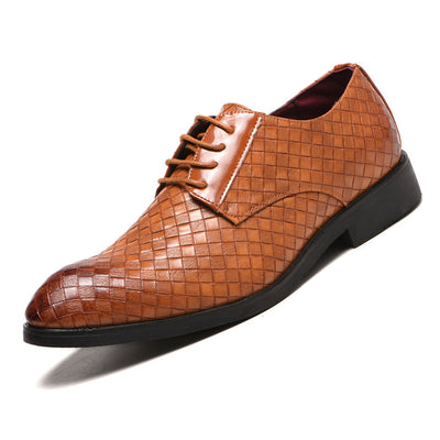 Men Large Size All Season Leather Braided Dress Shoes