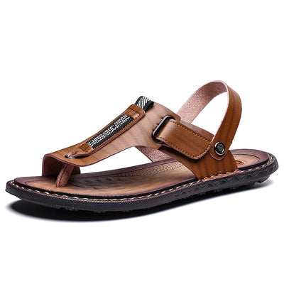 Men Leather Metal Decoration Non-slip Slippers Casual Beach Sandals