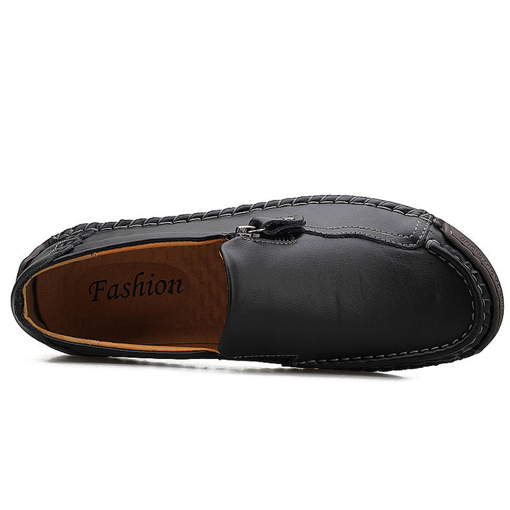 Men Genuine Leather Zipper All Season Casual Shoes
