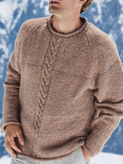 Men's Brown Knitted Basic Knitted Sweater