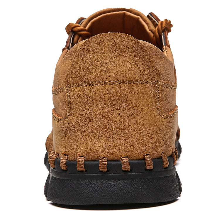 Men Vintage Microfiber Leather Hand Stitching Hook Loop Casual Ankle Shoes