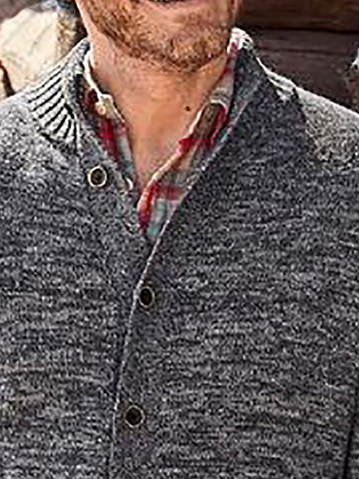 Men's Gray Solid Buttoned Knitted Basic Sweater
