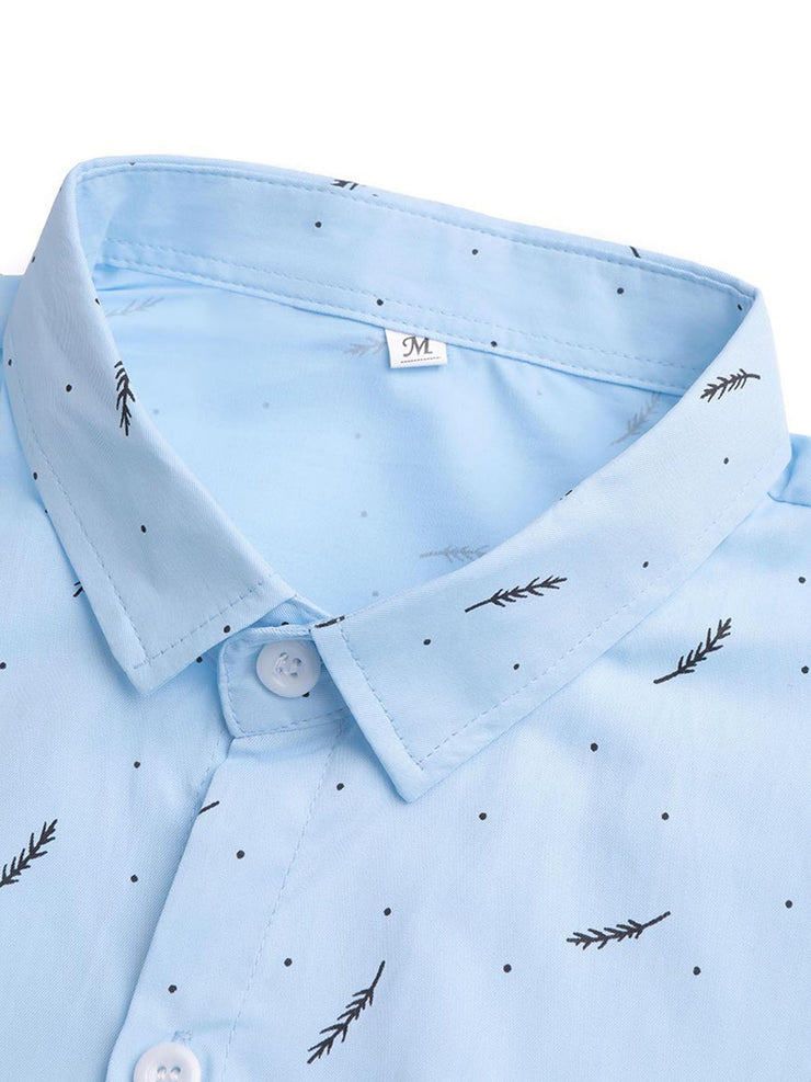 Men's Lightblue Polka Dots Shirt Collar Beach Printed Shirts