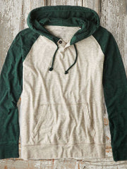 Green Cotton-Blend Plain Classic Hoodie Sweatshirt
