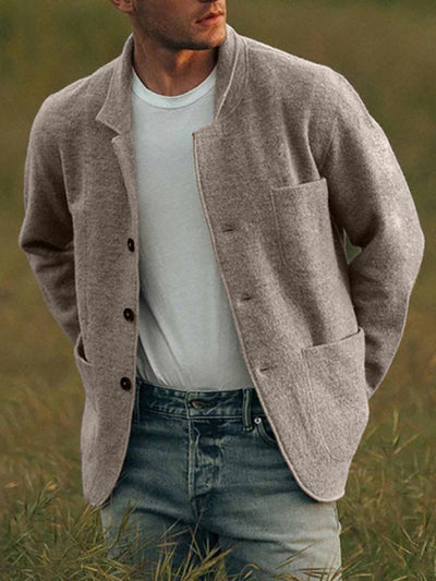 Gray Cotton-Blend Casual Outerwear