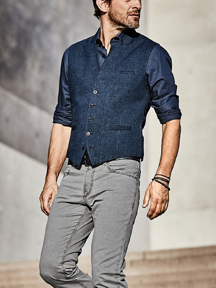 Navy Blue Casual V Neck Shirts & Tops