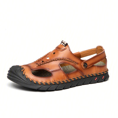 Men Hand Stitching Leather Non Slip Large Size Casual Outdoor Sandals