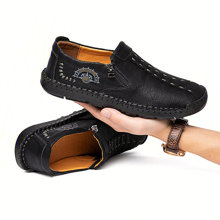 Men Hand Stitching Leather Zipper Daily  Casual Shoes