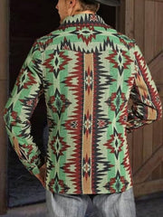 Tribal Shirt Collar Casual Jackets
