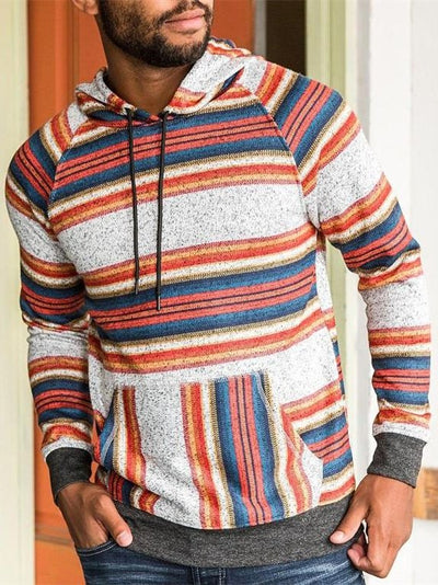Multicolor Striped Vintage Printed Sweatshirt