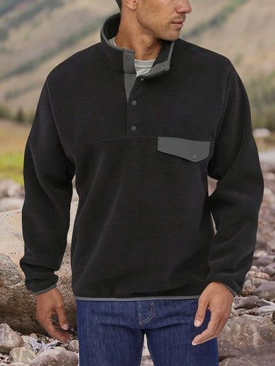 Henley Collar Paneled Cotton-Blend Casual Sweatshirt Pullover