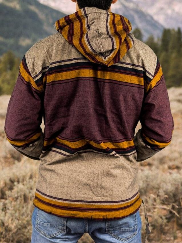 Casual Pockets Tribal Wool Blend Hoodie Sweatshirt