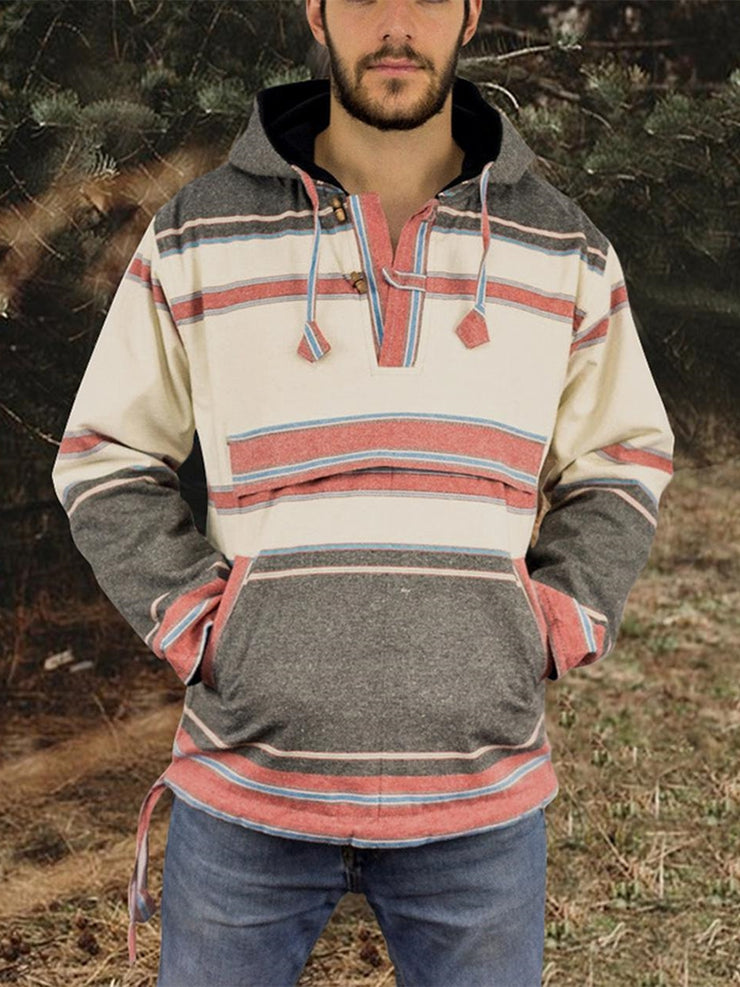 Multicolor Hoodie Casual Pockets Sweatshirt