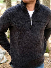Black Polar Fleece Zipper Casual Sweatshirt Pullover