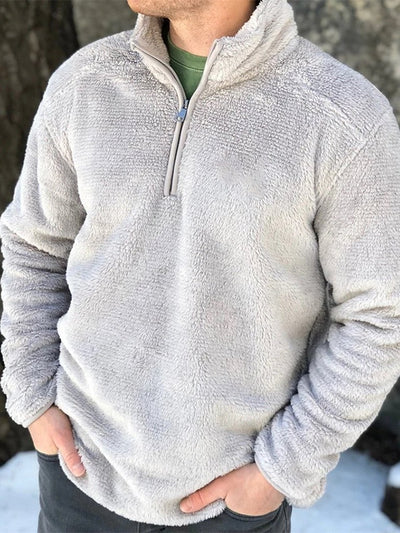 Gray Polar Fleece Casual Zipper Sweatshirt Pullover