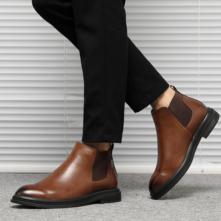Men Elastic Band Slip On Casual Chelsea Boots