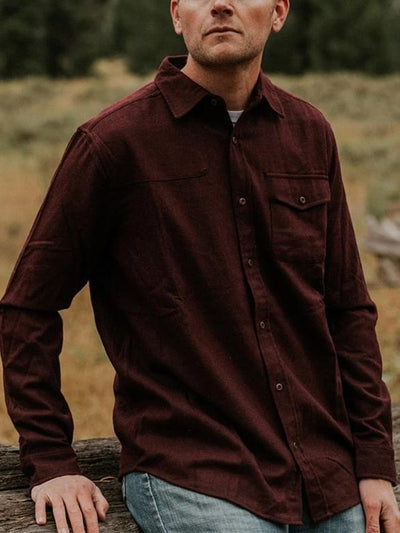 Wine Red Cotton-Blend Vintage Long Sleeve Shirts