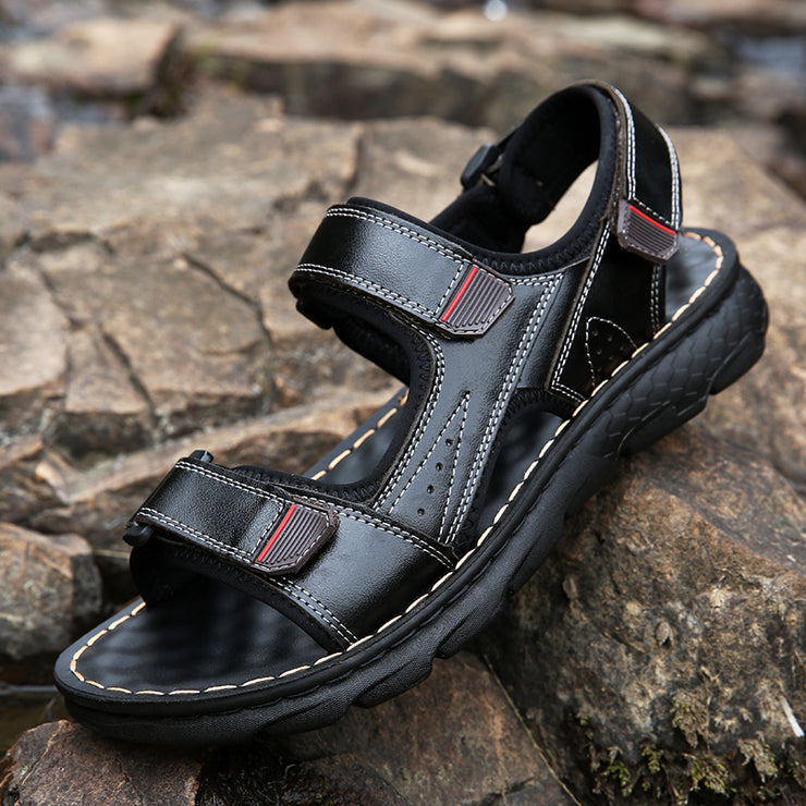 Men Three Hook Loop Non Slip Shock Absorption Outdoor Leather Sandals