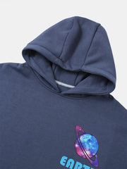 Blue Cotton-Blend Casual Sweatshirt
