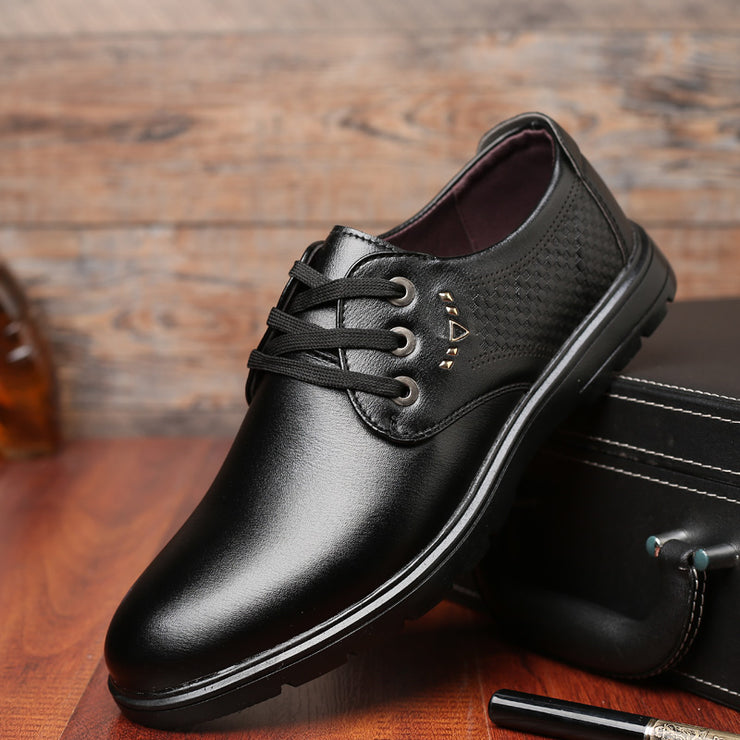 Men Pure Color Metal Business Formal Slip On Lace Up Flat Shoes