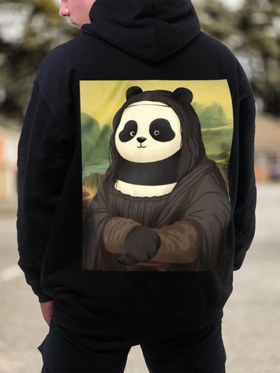 Black Animal Casual Hoodie Men's Fashion Print Sweatshirt