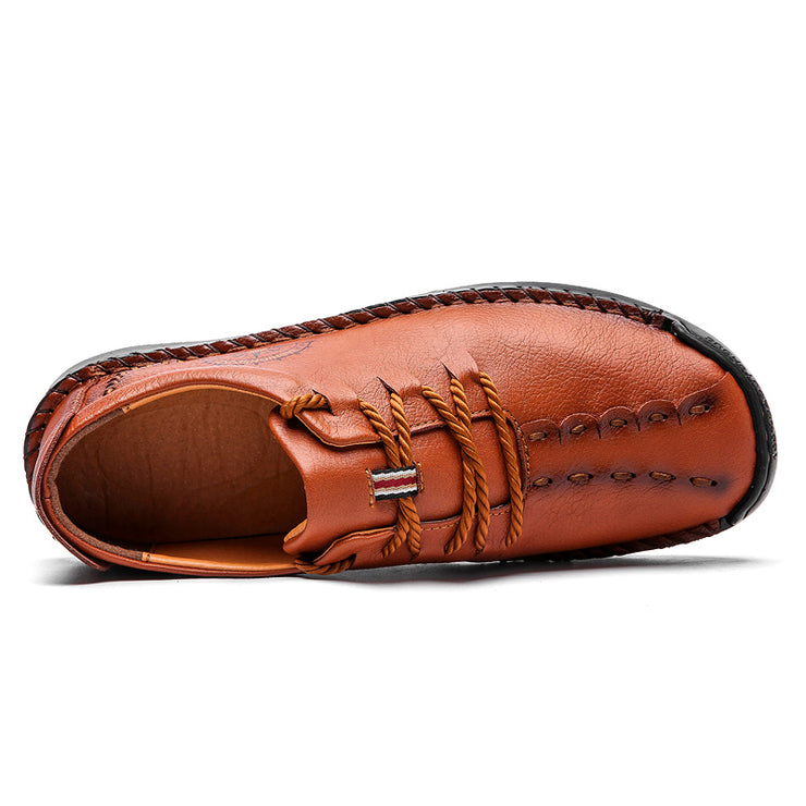 Men Hand Stitching Leather Non Slip Collapsible Heel Casual Shoes