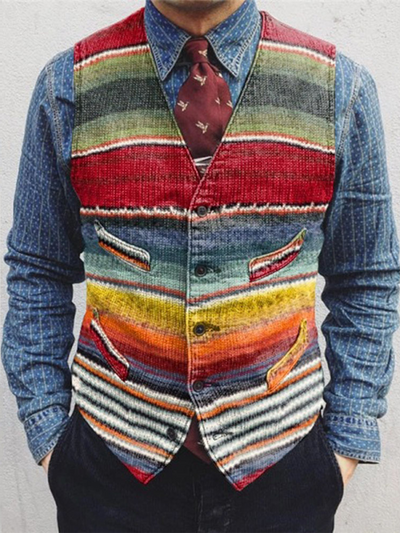 Red V Neck Printed Striped Casual Vests