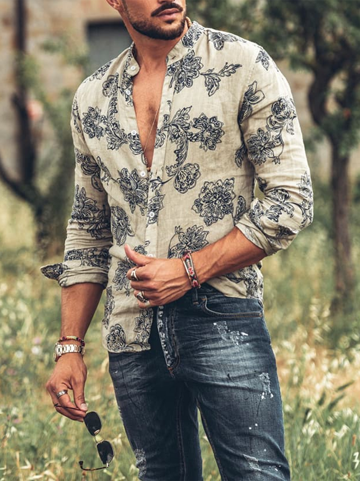 Khaki Casual Printed Floral Shirts & Tops