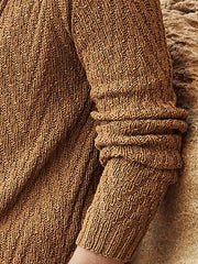 Men's Brown Casual Knitted Knitted Sweater