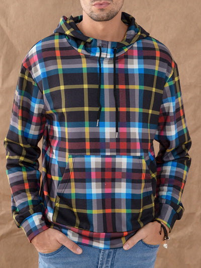 Blue Casual Plaid Hoodie Sweatshirt