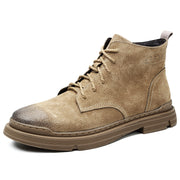 Men Vintage Outdoor Slip Resistant Lace Up Casual Leather Ankle Boots