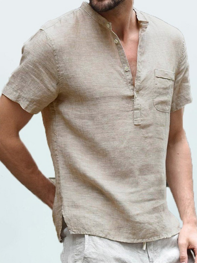 Solid Pockets Buttoned Casual Shirts & Tops