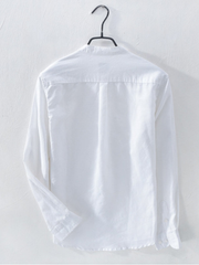 White Cotton Casual Stand Collar Shirts & Tops