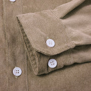 Khaki Basic Corduroy Plain Shirts & Tops