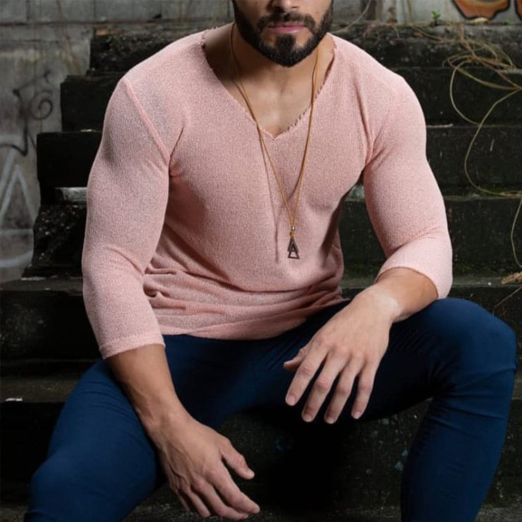 V Neck Casual Knitted Solid Shirts & Tops