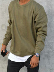 Army Green Basic Solid Cotton Men's Fashion Sweatshirt