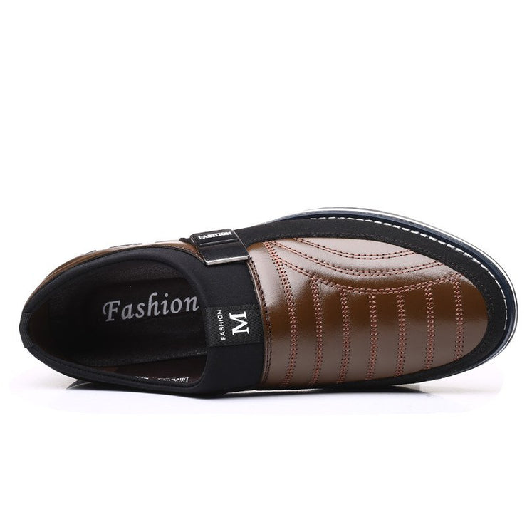 Men Genuine Leather Stitching Slip On Metal Decoration Non Slip Casual Shoes
