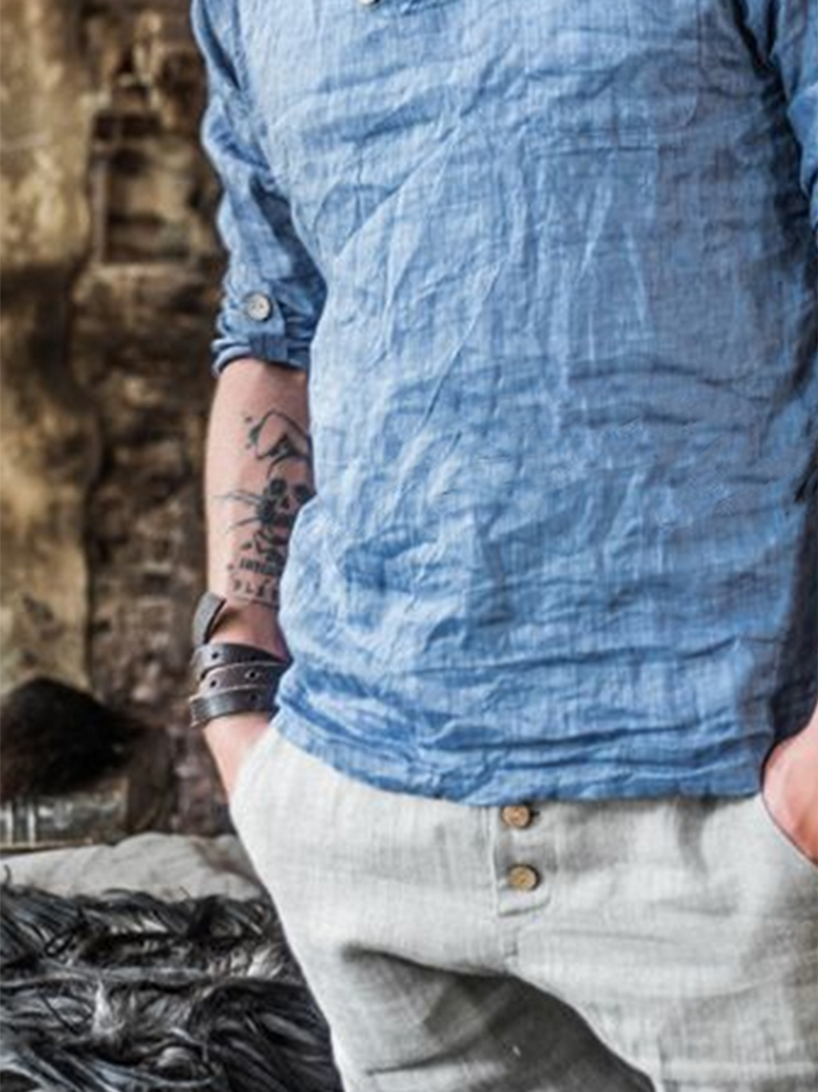 Blue Paneled Casual Plain Shirts & Tops