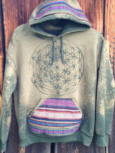 Green Cotton-Blend Printed Casual Sweatshirt