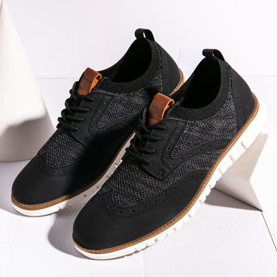 Men Casual Oxfords Brogue Stylish Leather Splicing Comfy Soft Lace Up Shoes