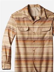 Stripes Classic Cotton-Blend Shawl Neck Shirts & Tops