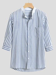 Linen Casual Striped Shirts & Tops