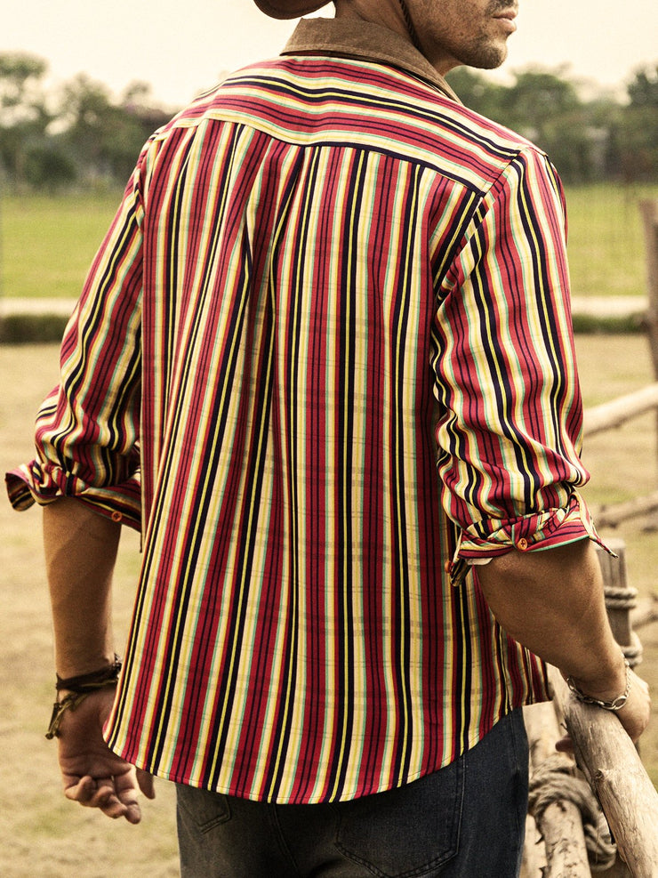 Red Striped Shirt Collar Casual Shirts & Tops