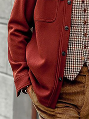 Red Casual Plain Outerwear