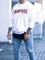 White Letter Casual Hoodie Men's Fashion Print Sweatshirt