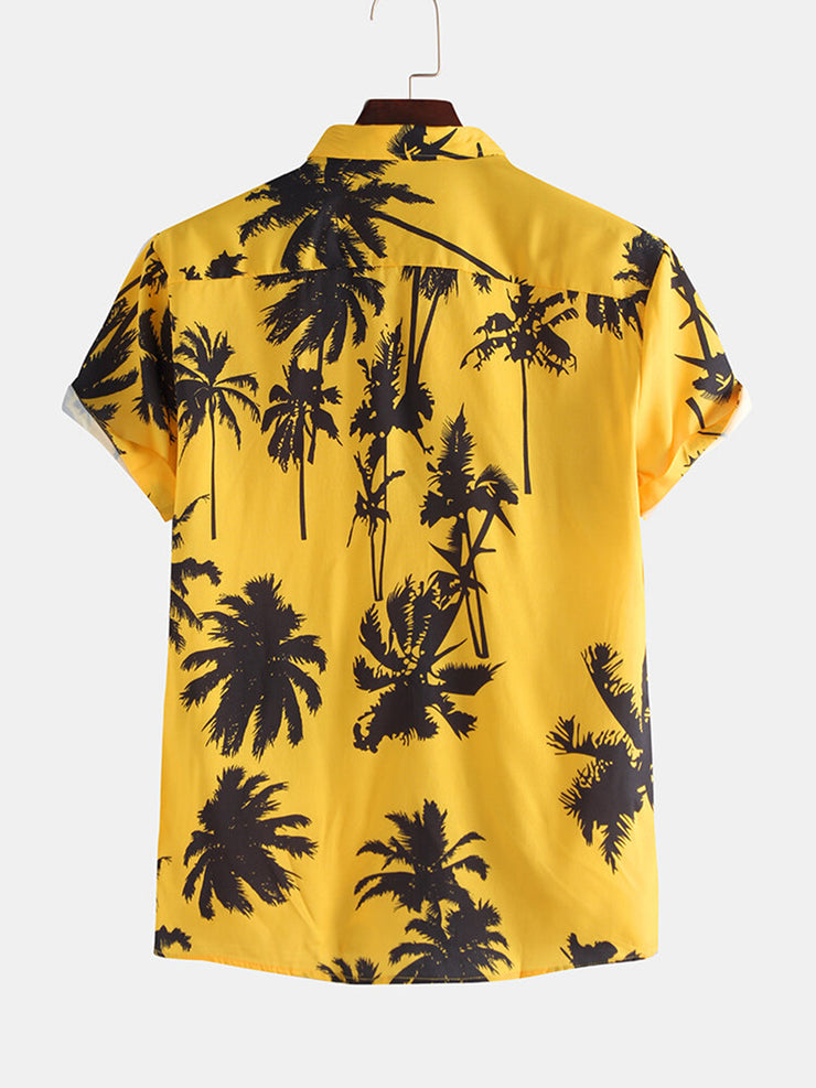 Men's Shirt Collar Coconut Tree Printed Chest Pocket Shirts