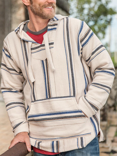 Beige Cotton-Blend Striped Casual Sweatshirt