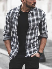 Black Classic Shirt Collar Plaid Shirts & Tops