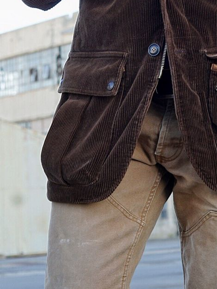 Brown Corduroy Basic Outerwear