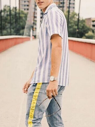 Lightblue Basic Striped Linen Shirt Collar Shirts & Tops